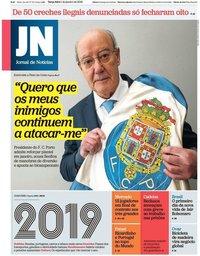 capa Jornal de Notícias de 1 janeiro 2019