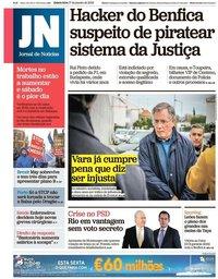 capa Jornal de Notícias de 17 janeiro 2019