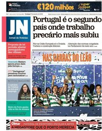 capa Jornal de Notícias de 27 janeiro 2019