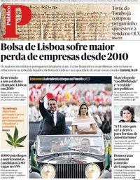 capa Público de 2 janeiro 2019