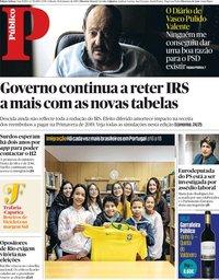 capa Público de 19 janeiro 2019