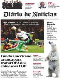 capa Diário de Notícias de 15 fevereiro 2019