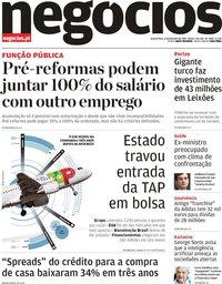 capa Jornal de Negócios de 6 fevereiro 2019
