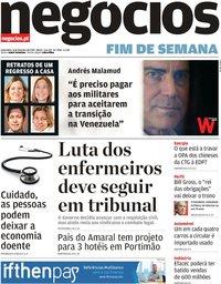 capa Jornal de Negócios de 8 fevereiro 2019