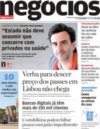 capa Jornal de Negócios de 11 fevereiro 2019