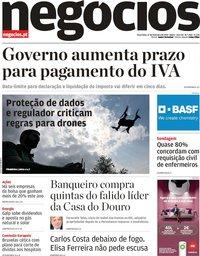 capa Jornal de Negócios de 12 fevereiro 2019