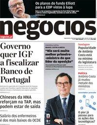 capa Jornal de Negócios de 18 fevereiro 2019