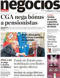 capa Jornal de Negócios de 19 fevereiro 2019