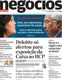 capa Jornal de Negócios de 20 fevereiro 2019