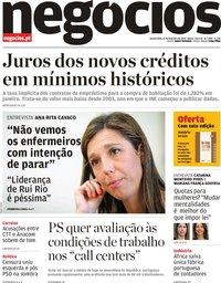 capa Jornal de Negócios de 21 fevereiro 2019