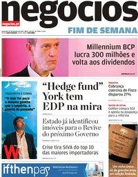 capa Jornal de Negócios de 22 fevereiro 2019