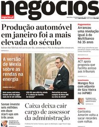 capa Jornal de Negócios de 27 fevereiro 2019