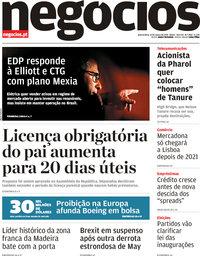 capa Jornal de Negócios de 13 março 2019