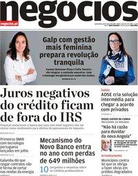 capa Jornal de Negócios de 14 março 2019