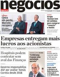 capa Jornal de Negócios de 18 março 2019