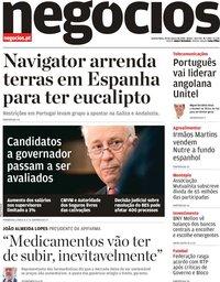 capa Jornal de Negócios de 20 março 2019