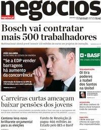 capa Jornal de Negócios de 21 março 2019