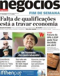 capa Jornal de Negócios de 29 março 2019