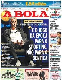 capa Jornal A Bola de 2 abril 2019