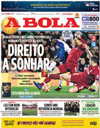 capa Jornal A Bola de 10 abril 2019