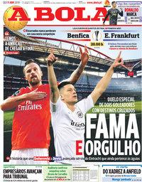 capa Jornal A Bola de 11 abril 2019