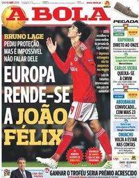 capa Jornal A Bola de 13 abril 2019