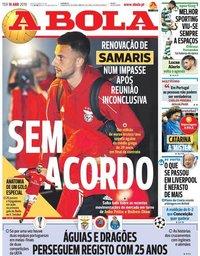 capa Jornal A Bola de 16 abril 2019