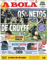 capa Jornal A Bola de 17 abril 2019