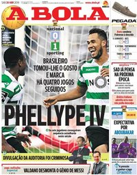 capa Jornal A Bola de 20 abril 2019