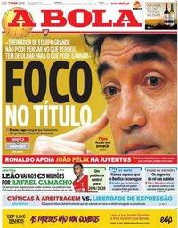 capa Jornal A Bola de 22 abril 2019