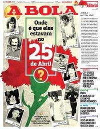 capa Jornal A Bola de 25 abril 2019
