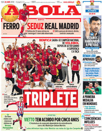capa Jornal A Bola de 26 abril 2019