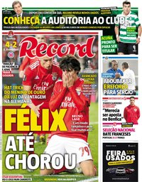 capa Jornal Record de 12 abril 2019