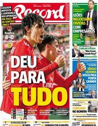 capa Jornal Record de 23 abril 2019