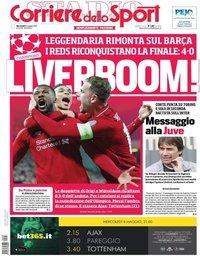 capa Corriere dello Sport de 8 maio 2019