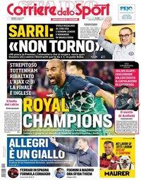 capa Corriere dello Sport de 9 maio 2019