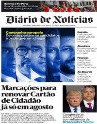 capa Diário de Notícias de 13 maio 2019