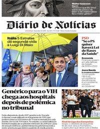 capa Diário de Notícias de 31 maio 2019