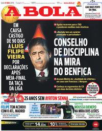 capa Jornal A Bola de 1 maio 2019