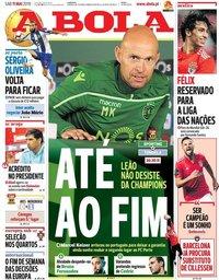 capa Jornal A Bola de 11 maio 2019