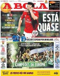 capa Jornal A Bola de 13 maio 2019