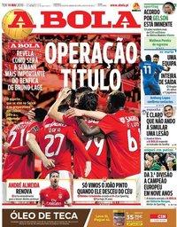 capa Jornal A Bola de 14 maio 2019