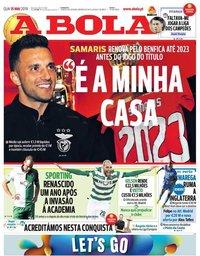 capa Jornal A Bola de 15 maio 2019