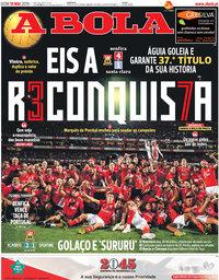 capa Jornal A Bola de 19 maio 2019