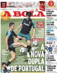 capa Jornal A Bola de 30 maio 2019