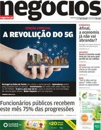 capa Jornal de Negócios de 2 maio 2019
