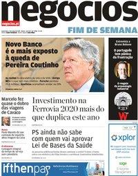 capa Jornal de Negócios de 3 maio 2019