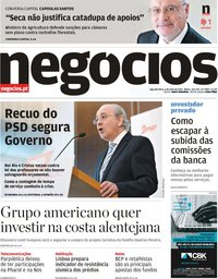 capa Jornal de Negócios de 6 maio 2019