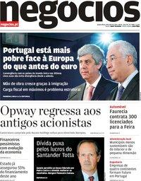 capa Jornal de Negócios de 8 maio 2019
