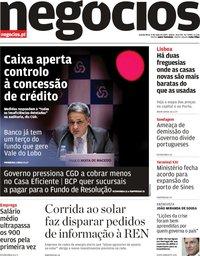 capa Jornal de Negócios de 9 maio 2019